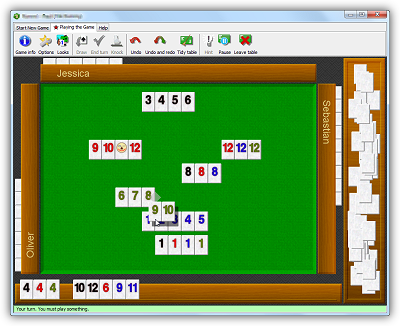 A sample game of RRRummy (like Tile Rummy), with four players. The player is adding his green 9 and 10 to an existing meld on the table.